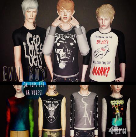 Зловещие мужские футболки от AHS для Симс 3