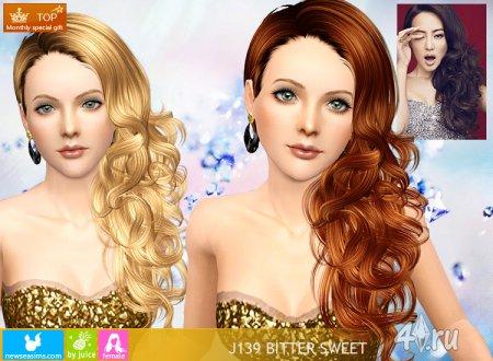 Женская прическа с длинными волосами для взрослых и детей от NewSea для Сим ...
