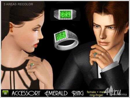 Кольцо с бриллиантом от Severinka для Симс 3 в формате sims3pack