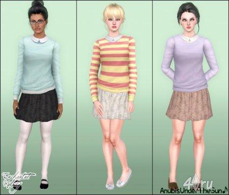 Свитер и юбка от Anubis для The Sims 3 в формате sims3pack и package