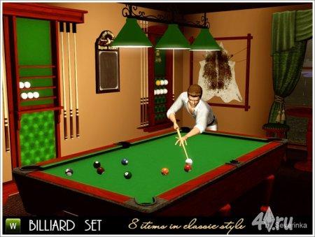 Набор мебели и декора для бильярдной от Severinka для Симс 3 в формате sims3pack