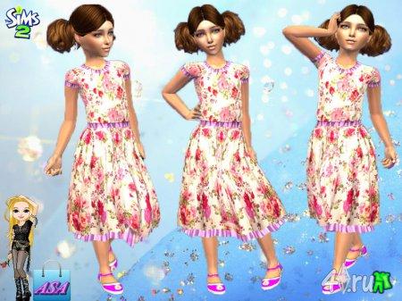 Повседневное платье для девочек (для Симс 2)