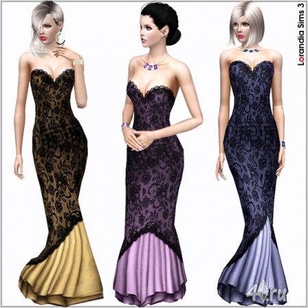 Открытое вечернее платье от Lorandia для Симс 3 в формате sims3pack