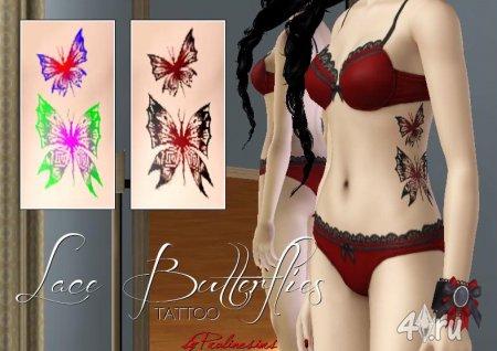Красивые татуировки бабочки от Pralinesims для Симс 3 в формате sims3pack