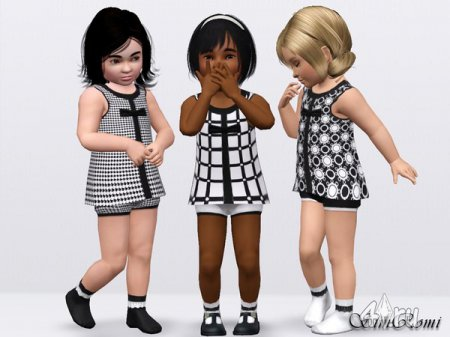 Платье и носки (для детей) от simromi для симс 3 d в формате sims3pack