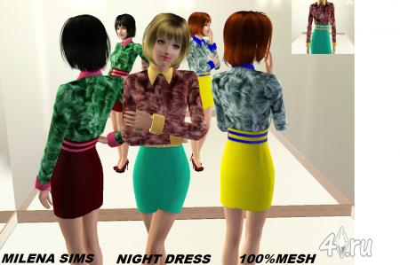 Платье для вечеринки от Milena для sims 3 в формате sims3pack