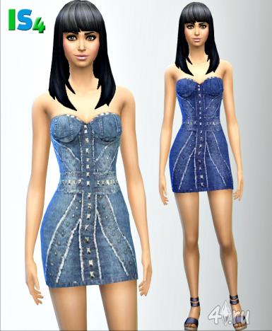 Джинсовое платье от Irida для Симс 4