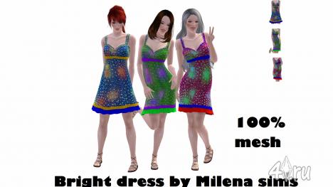 Яркое платье от Milena sims для Симс 3