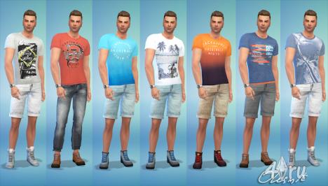 Мужские рубашки и футболки Jack&Jones от Olesmit для The Sims 4