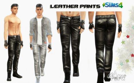 Кожаные брюки для мужчин от Olesmit для The Sims 4