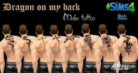 """Татуировки для мужчин """"Dragon on my back"""" от Olesmit для The Sims 4"""