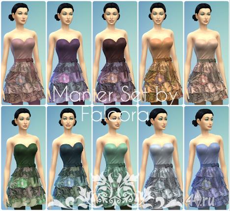 Стильное платье от Falcora для The Sims 4