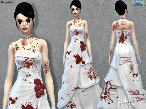 Кровавое свадебное платье от Margeh75 для The Sims 4 в формате package