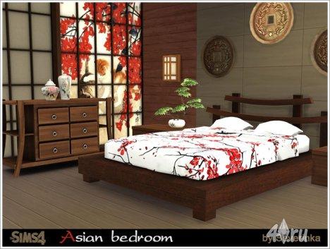 Спальня в азиатском стиле от Severinka для The Sims 4