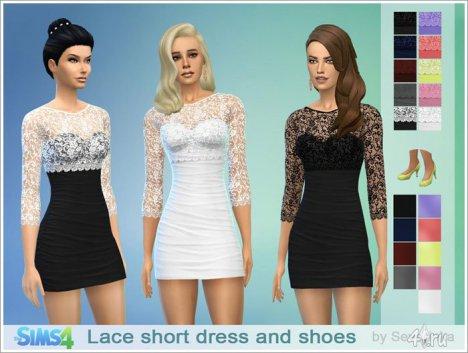 Кружевное короткое платье и туфли от Severinka для Sims 4