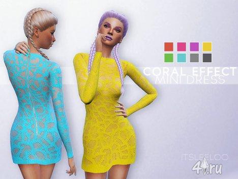 Коралловое платье для Sims 4  от Leeloo в формате package
