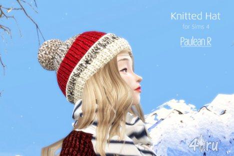 Зимняя вязаная шапка с помпоном от PauleanR для игры Симс 4