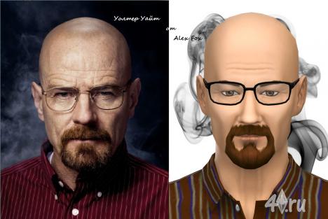 Скин актера Уолтера Хартвелл Уайта (Walter Hartwell White) для игры Sims 4