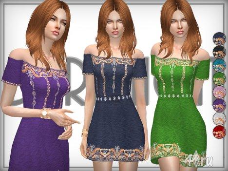 Хлопковое платье с вышивкой (без плеч) от DarkNigh для Симс 4 в формате package