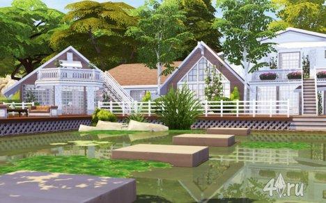 Семейный дом у озера от Pralinesims для Симс 4