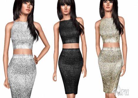 Раздельное платье Металик от ekinege для Симс 3 в формате sims3pack