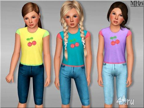 Детские футболка и бриджи от Margeh-75 для Симс 3 в формате sims3pack