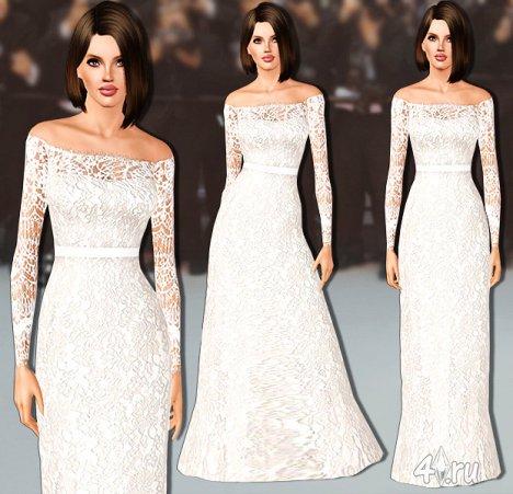 Кружевное свадебное платье от sims2fanbg для Симс 3 в формате sims3pack