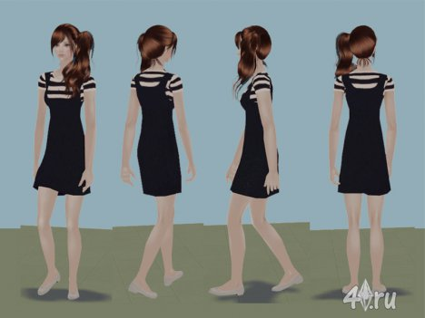 Полосатое платье от missLsims для Симс 2