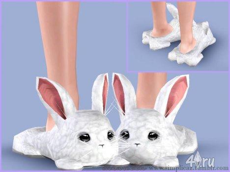 Симпатичные тапочки Кролики от Cazarella для Симс 3 в формате sims3pack