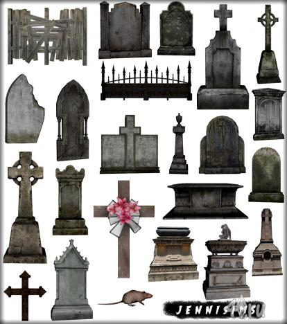"""Коллекция предметов """"Кладбище"""" от Jennisims для Симс 3 в формате sims3pack"""