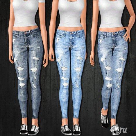 Рваные зауженные женские джинсы от sims2fanbg  для Симс 3 в формате sims3pack
