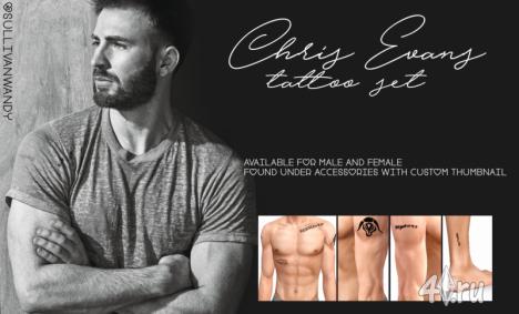 Набор татуровок Крис Эванс (Chris Evans) от Sullivanwandy для Симс 3 в формате package