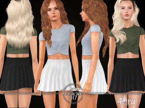 Топ и юбка от winnie017 для Симс 3 в формате sims3pack