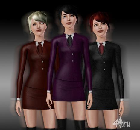 Строгий женский костюм с галстуком от mjakeli6 для Симс 3 в формате sims3pack