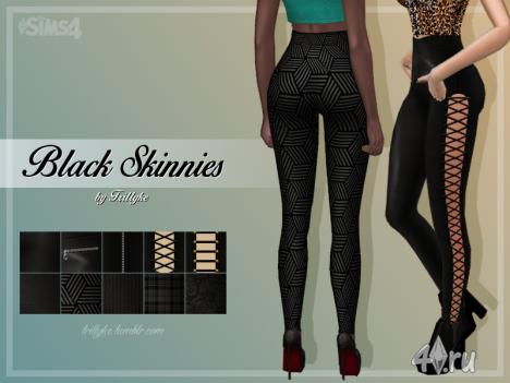 """Чёрные леггинсы """"Skinnies """" от Trillyke для Симс 4"""
