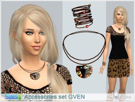 """Этнический набор аксессуаров (подвеска и браслет) для женщин """"Гвен"""" от Severinka для The Sims 4"""