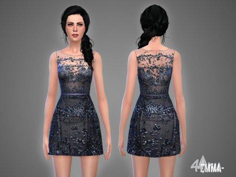 Красивое платье с поясом и вышивкой от -April- для Симс 4