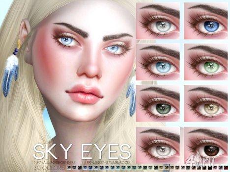 """Линзы """"Небесные глаза"""" от Pralinesims для Симс 4"""