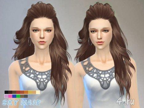 Длинная женская прическа от Skysims для The Sims 4