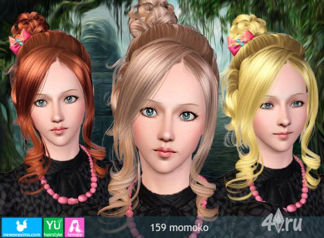 """Женская прическа для взрослых и детей """"Момоко"""" от NewSea для The Sims 3 в формате sims3pack"""