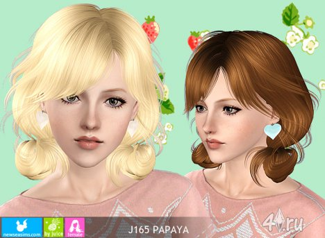 """Женская прическа для взрослых и детей """"Папайя"""" от NewSea для The Sims 3 в формате sims3pack"""