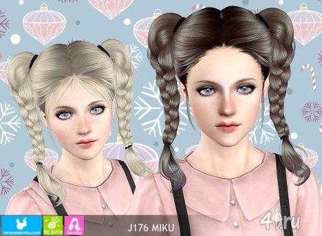 """Женская прическа для взрослых и детей """"Мику"""" от NewSea для The Sims 3"""