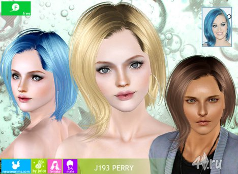 "Прическа для мужчин и женщин ""Перри"" от NewSea для The Sims 3 в формате sims3pack"