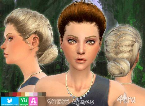 """Женская прическа """"Агнесса"""" от NewSea для The Sims 4"""