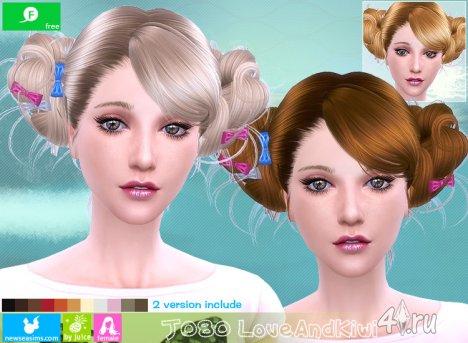 """Женская прическа """"Любовь и киви"""" от NewSea для The Sims 4"""