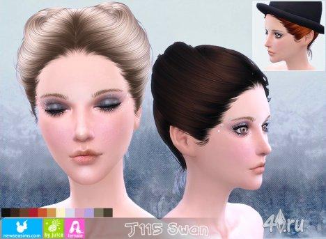 """Женская прическа """"Лебедь"""" от NewSea для The Sims 4"""