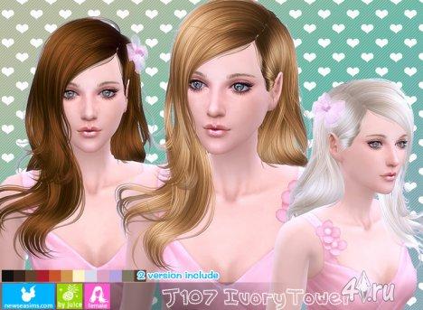 """Женская прическа """"Башня из слоновой кости"""" от NewSea для The Sims 4"""