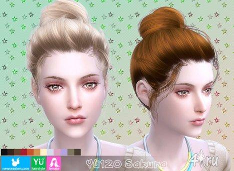 """Женская прическа """"Саккура"""" от NewSea для The Sims 4"""