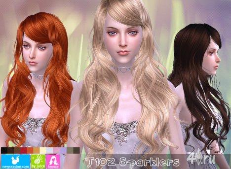 """Женская прическа """"Огоньки"""" от NewSea для The Sims 4"""