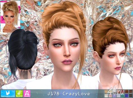 """Женская прическа """"Сумасшедшая любовь"""" от NewSea для The Sims 4"""